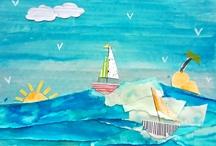 Talleres infantiles/ Fotos de collages / Todas las obras de artes echas por los mas pequeños en Centroartesano