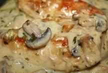 Poulet à la moutarde estragon champignons / Plat