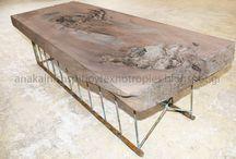 τραπέζια από κορμούς / Τραπέζι - τραπέζια μασίφ, τραπεζαρίες από κορμούς δέντρων, κατασκευή επίπλων με ξύλο καρυδιάς, σιδερένια πόδια τεχνοτροπία χαλκός σκουριά σε φυσική παλαίωση.