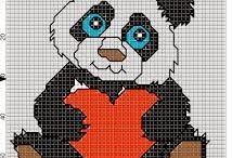 Cross stitch - pandas and koalas
