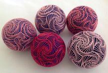 Temari - Empress Wu Designs  / embroidered thread balls