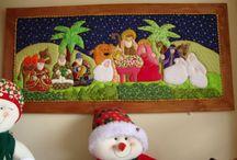 cuadro patchwork navideños