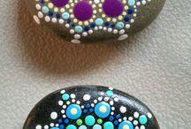 Sten i blå og turkis