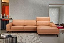 Modern Italian Leather Pumpkin Leather Sectional