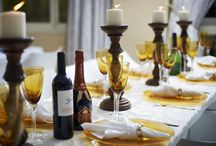 Amber Table Decor / Amber Glasses and Plates for your Event!