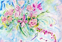 Wedding bouquet paintings / Commission Wedding Bouquet Paintings by international artist Andrea de Kerpely-Zak and daughter Andrea Zakrzewski.  capture the flowers from your wedding forever.