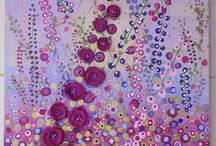 beads on canvas