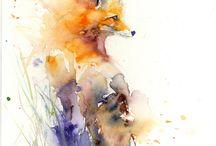 renard aquarelle