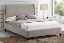 Designer Beds / Designer bed frames consisting of solid ash, chenille and oak.