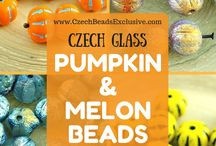 Pumpkin and Melon Czech Glass Beads