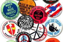 Pinback Buttons - In History / Pinback button badges have a long history of helping people champion a cause.  Politics, advertising, band promotion and a call for peace are just a few of the ways pinbacks have been used.  Here is a collection of buttons that show some of the messages that may have helped to influence history, some of them are iconic.