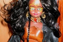 Designed Dolls - Folkloric / These dolls were repainted, and designed with leather, suede, and other interesting findings.