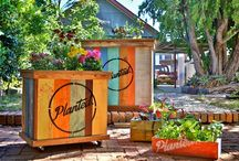 planted gardens. / We specialize in custom created planter boxes of all shapes & sizes. Made from genuine recycled boat wood & timbers.