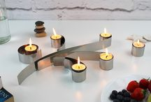 Swirl Tealight Holder / The Swirl is a set of 6 tealight holders that take inspiration from paper quills and decorative scrolls. It's modular design means each part can be set as desired, offering an infinite number of arrangements. The Swirl can also hold standard stick candles for maximum versatility.