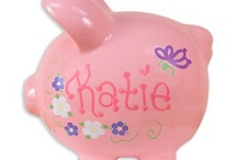 Personalized Piggy Bank / Hand painted personalized piggy bank for kids of all ages. / by My Bambino