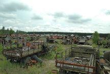 """Chernobyl vehicle graveyard - BURYAKOVKA / Cemetery of radioactive equipment """"Buryakovka"""" in the Chernobyl exclusion zone - settler liquidator technology."""