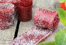 Bonbons naturels et cuirs de fruits.