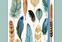 Feathers and leaves