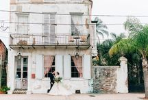 Elegant Organic R+R Wedding / This moody yet elegant elopement shoot was inspired by mauve and blue florals and textiles along with organic textures. The mix of romantic mid-century and vintage elements was the perfect complement to the the dreamy backdrop of Race + Religious.