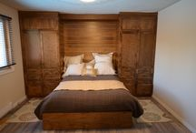 Platform Bed and Custom Furniture / What an amazing transformation...this ceiling height maple cabinetry with a soft stain makes for a dreamy bedroom set. The platform bed and double stack crown really completes the look.