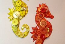 button bead and shell art