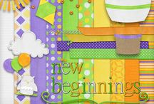 New Beginnings #Digiscrappint Kit / A bright, fun Everyday kit available exclusively at MyMemories