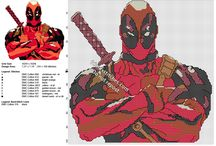 Deadpool free cross stitch patterns / Free Deadpool cross stitch patterns