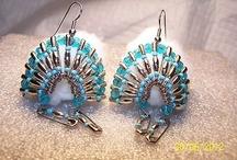 Safety pins head dress earrings