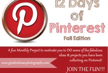 12 Days of Pinterest - Fall Edition / My Personal Project to Motivate Myself and Others to DO more of the Projects and Ideas we collect on Pinterest! On this board I will have the inspiration pin as well as a pin linking to my version of the idea on my blog.  Happy pinning (and DOING!)!!!!