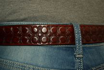 Hand patterned leather belts / Different designs on leather belts using small embossing tools.