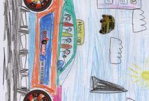 Autokuvat / Autosuunnittelukirjan autoja joihin on panettu tarroja ja sit se on väritetty