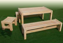 Kindermöbel / Kindermöbel aus chromfrei imprägniertem Holz, wetterfest, für die dauerhaufte Aufstellung im Freien