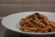 Pasta / Some of our signature pasta dishes. Black marinara & Penne Pollo e Moscato d'asti.