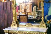 Gold Gilded French Marble Top Console- Cherubs