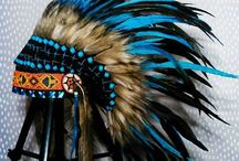 Three pieces of Native American Headdresses