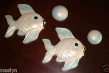 TWO RETRO CHALKWARE FISH & BUBBLES-MILLER STUDIOS-REMEMBER THESE?