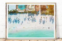 Aerial Photography / Aerial Beach View Prints, Tropical Ocean, People in Water