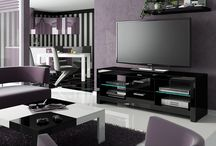Andora High Gloss Tv Cabinet / This TV cabinet is built with iluminated glass shelves and black high gloss finished surface. The high gloss finish keeps to the style of your entertainment system.
