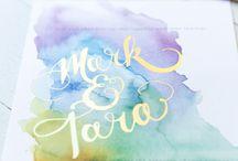 Watercolour wendding invitations