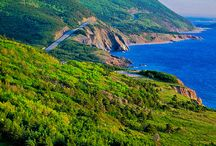 Cabot Trail, Cape Breton Island, Nova Scotia / The Cabot Trail has been described as one of the most beautiful scenic drives anywhere.  It is a 298 km (185 mi) loop around the northern part of Cape Breton Island in Nova Scotia.  You'll see coastal views, fishing villages, waterfalls, sandy beaches, hiking trails, whales and much more.  This is more than a drive.....it is a wonderful magical place that definitely belongs on your bucket list.