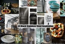 "LG Limitless Design / I LOVE the new LG Black Stainless Steel Appliances because the finish on them gives me a sense of luxury that reminds me of ""Breakfast at Tiffany's"". It's farm girl meets the city with the warm textures of a farmhouse next to the cool industrial style of the big city with a little bling all mixed together perfectly."