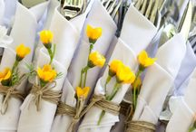 table linen / Most people have the usual white table linen for their wedding. Use them as a base to build up your own personalised theme; add a pretty vintage cloth, hessian table runners and napkin holders or lace and diamanté ......the choice is endless!