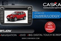 Caska India suitable for Renault Duster / Lodgy / Best selling all in one GPS Navigation system in INDIA at best prices. Features Touchscreen, Audio, Video, Music player. Add on Rear camera and tyre pressure monitoring System for Renualt Duster.