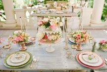 Pastel place settings / An inspiration board designed to show brides the kind of different look you can create with vintage china hire and styling