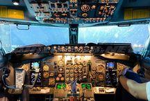 Commercial plane cockpit
