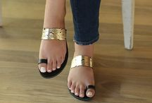 "Leather Handmade Sandals ""Anafi"" Black /Gold"
