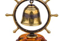 Amber and Brass Bells / Vintage Bells made of original Baltic Amber and Brass.