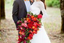 bukiet ślubny czerwony