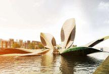 Rampas / Puentes / Tablero que muestra proyectos ajenos a Mo.A, que sirven para expresar nuestras preferencias arquitectónicas