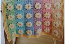 crochet Afghan blanket with flowers
